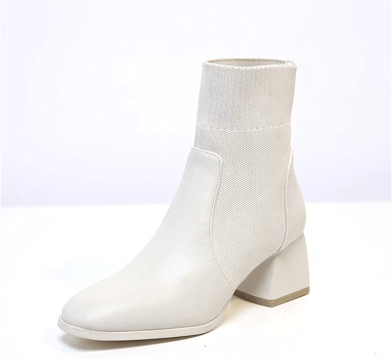 Wangchngqingyx Womens Rain Boots, Comfortable Women's Career Boots for Office Autumn Solid Shoes Woman High Heels Lady Ankle Rain Boot (Color : Beige, Shoe Size : 39)