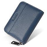 小さい 小銭入れ メンズ 本革 コインケース カードケース YKK ファスナー コンパクト 財布 (ブルー)