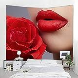 N/A Tapiz de Dormitorio RosaBelleza Labios Tapiz Bohemio Colgante de Pared Estera de Yoga Chimenea Mantel Hoja Personalizada