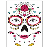 Tatuaje temporal de la cara, 8 Kits Tatuajes Sugar Skull Stickers Day of The Dead Makeup, Face Tattoo Rose Design para Halloween, disfraces y fiestas (Pegatinas faciales)
