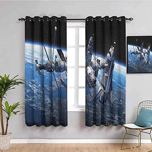 LucaSng Cortinas de Opacas - Azul Tierra satélite Espacio - 140x100 cm para Sala Cuarto Comedor Salon Cocina Habitación - 3D Impresión Digital con Ojales Aislamiento Térmico Cortinas