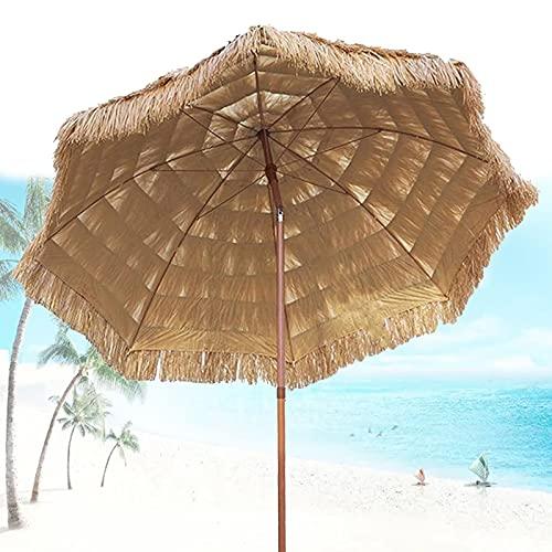 XINGG Sombrilla De Playa Hawaiana Hula Hut De 300cm con Función De Inclinación, Sombrilla De Paja De Imitación De Playa, Protección UV, para Jardín, Terraza, Patio Trasero Y Piscina