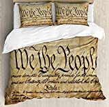 Ambesonne United States Duvet Cover Set, Vintage Constitution Text of America National Glory 4th of July Image, Decorative 3 Piece Bedding Set with 2 Pillow Shams, Queen Size, Pale Brown