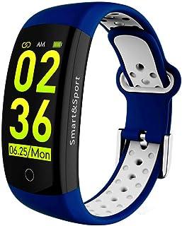AIFB Pantalla a Color Pulsera Inteligente, Monitor de sueño Podómetro Pulsómetro Fitness Tracker Impermeable Bluetooth Notificación de Mensajes para Android iOS Phone,Blue-OneSize
