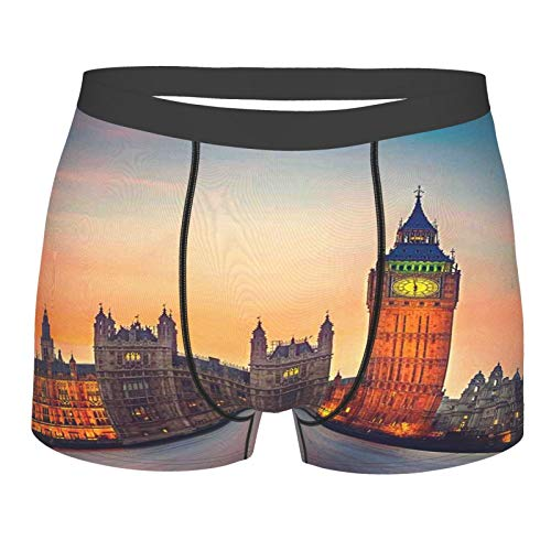 ZELXXXDA Männerunterwäsche,London Fairy View von Big Ben und Houses of Parliament in der Abenddämmerung in London British Urban Town, Boxershorts Atmungsaktive Komfortunterhose Größe XL