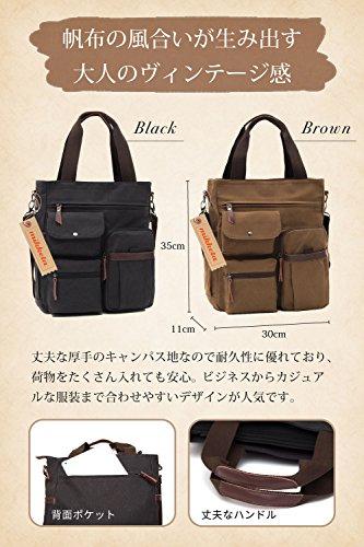 mikketaトートバッグショルダーバッグメンズ2way帆布キャンバスカジュアルストラップ付きブラック