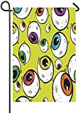 Graffiti Eyes in Yellow Garden Flag for Garden Decorations Party Supplies