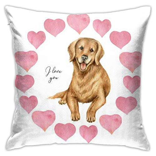 pingshang Watercolor Round Frame Hearts and Dog Retriever Valentine Pillowcase, Double-Sided Printing, Hidden Zip Pillowcase, 18.