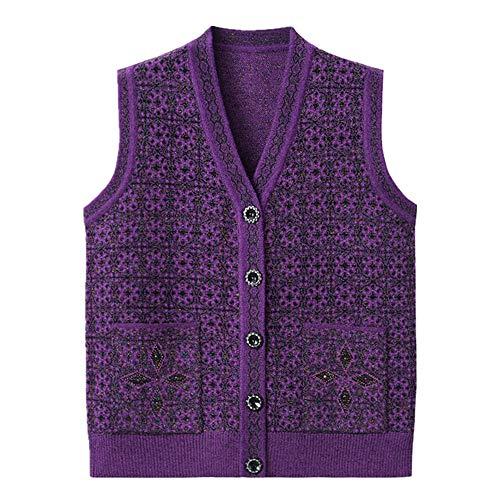 NP - Maglione da donna autunno senza maniche giacca cardigan maglia Viola XXX-Large
