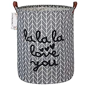 FANKANG Storage Basket, Nursery Hamper Canvas Laundry Basket Foldable with Waterproof PE Coating Large Storage Baskets for Kids Boys and Girls, Office, Bedroom, Clothes,Toys(lala)