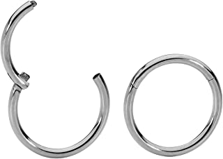 365 Sleepers 1 Pair Titanium 18G (Thin) Hinged Segment Ring Hoop Sleeper Earrings Body Piercing 5mm / 6mm / 7mm / 8mm / 9m...