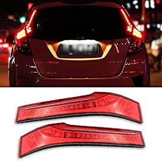 iJDMTOY (2) Red Lens LED Rear Side Pillar Tail/Brake Lamps For 2015-up Honda FIT, OEM Replacement Powered by 14 Pieces of High Power SMD LED Lights