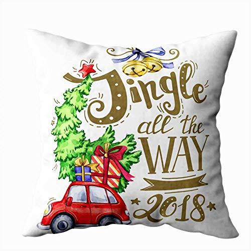 July Werfen Sie Kissenbezüge, Grußkarte des handgezeichneten Schriftzug-Aquarellautos mit Baum- und Feiertagsdekorationen
