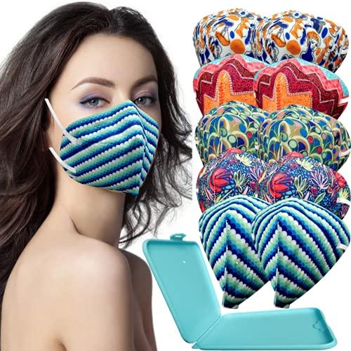 MVT - 10x Mascarilla Protectora FFP2 NR Adulto 5 capas Estampados Variados + Mask Case color aleatorio ✅