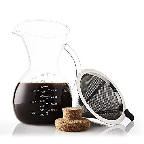 Apace Living Häll över kaffebryggare set med kaffeskopa och korklock - elegant kaffe droppkanna med glaskaraff och permanent rostfritt stål filter (1 000 ml)