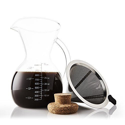 Apace Living Pour Over Coffee Maker Set w/Coffee Scoop and Cork Lid - Elegant Coffee Dripper Pot w/Glass Carafe & Permanent Stainless Steel Filter (1000 ML)