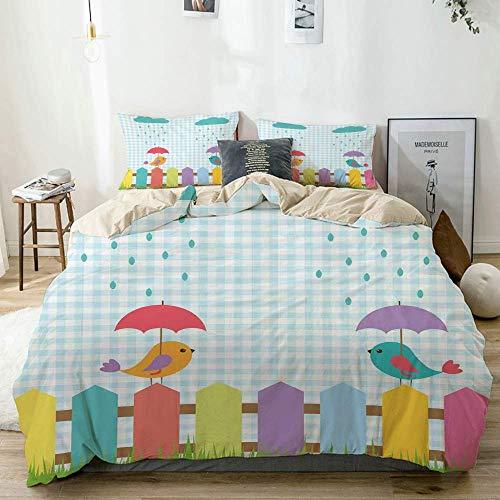 Juego de funda nórdica beige, divertidos pájaros coloridos, dibujos animados debajo de las sombrillas en la cerca, diseño de nubes de amor, diseño de lluvia, juego de cama decorativo de 3 piezas con 2