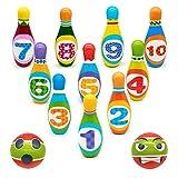 Mini Bowling Jeux de Quilles Mini Bowling Set avec 2 balles en Mousse 10 Broches Jeu en Plein Air Jeux Exterieur Jeux Enfant Garcon Fille 3 4 5 (Size 14cm*4.5cm)