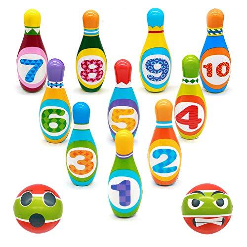 BowlingKinder Set Mini Kegelspiel für Kinder Spiele für Draußen Kinder Geschenke Spielzeug für 3 4 5 Jährige Jungen Mädchen, 12 Stück (10 stabil Die Kegel, 2 Bällen)