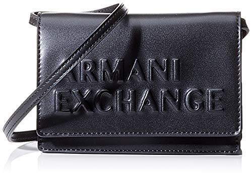 Armani Exchange - Embossed Logo Crossbody Bag, Bolsos bandolera Mujer, Negro (Black), 10x10x10 cm (W x H L)