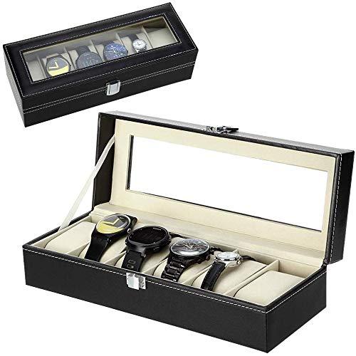 ZOGIN Caja de Almacenamiento de Reloj / Soporte de Exhibición de Relojes para Guardar 6 Pulseras o Relojes, Color Negro