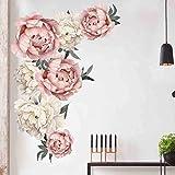 Sixcup Wandaufkleber Rose Flowers Wall Sticker Kreative DIY Wandtattoos Wandbilder Hauptdekorationen Kunst Nursery Decals Kids Room Home Decor (A(60 x 90cm))