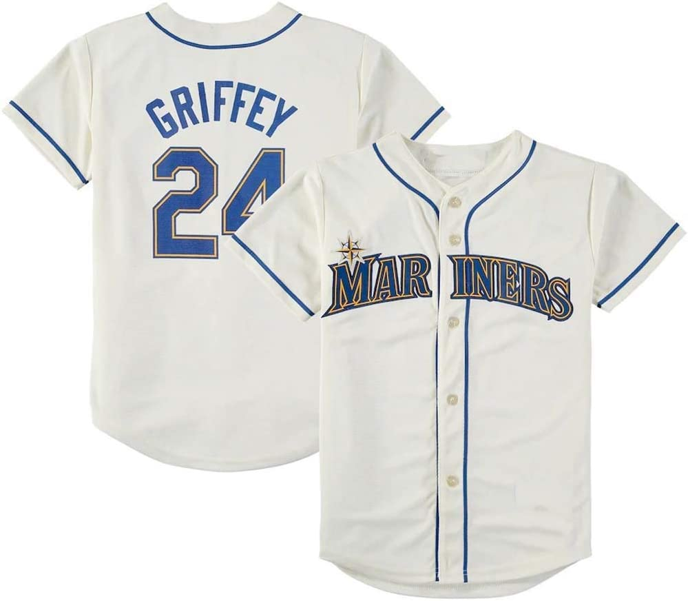 divisa da allenamento 24 Griffey JMing maglia da baseball per tifosi di baseball maglietta sportiva da uomo maglietta a maniche corte con maniche corte divisa da baseball da uomo