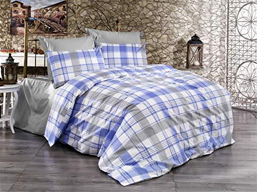 Valuax Juego de ropa de cama de algodón Renforcé de 2 piezas (1 funda nórdica de 155 x 200 cm y 1 funda de almohada de 80 x 80 cm) con cremallera y estampado escoceses en los colores azul y gris