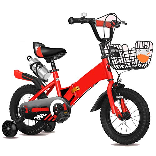 Kinder Falten Fahrrad 12-14-16-18 Zoll Draussen Kind Mountainbike Jungs Mädchen Geschenk Zum 2-10 Jahre Alt Mit Blitz Ausbildung Räder, Wasserflasche Und Korb,18 inch