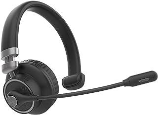 ヘッドバンドヘッドフォン 新しいヘッドセットのBluetooth 5.0ワイヤレスヘッドセット、ビジネスビジネスBluetoothヘッドセット、コールセンターヘッドセット マイク付きワイヤレスヘッドフォン (Color : Black)