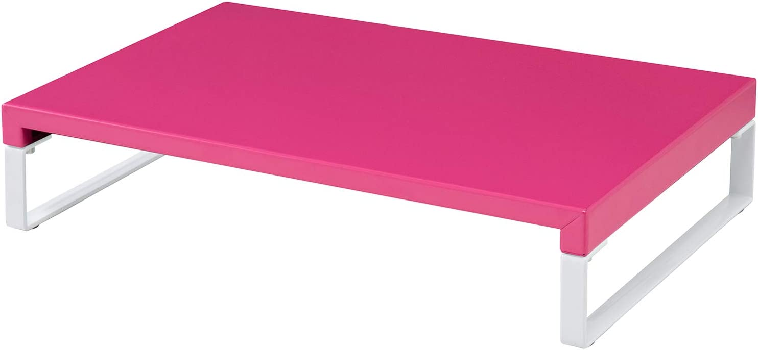LIHIT LAB Desktop Stand, Sturdy Steel Stand for Laptop/Computer Monitor, 9.8 x 15.4 x 3.1 inches, Pink (A7330-3)