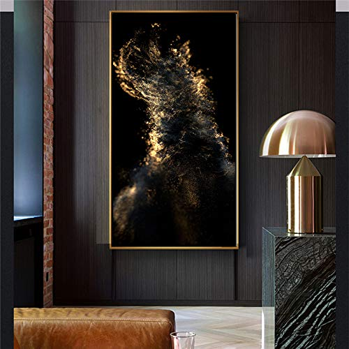 NIMCG Gold und Schwarz Leinwand Malerei Wandkunst Bild für das stilvoll eingerichtete Wohnzimmer Moderne Exquisite Wanddekoration (kein Rahmen) 35x70CM
