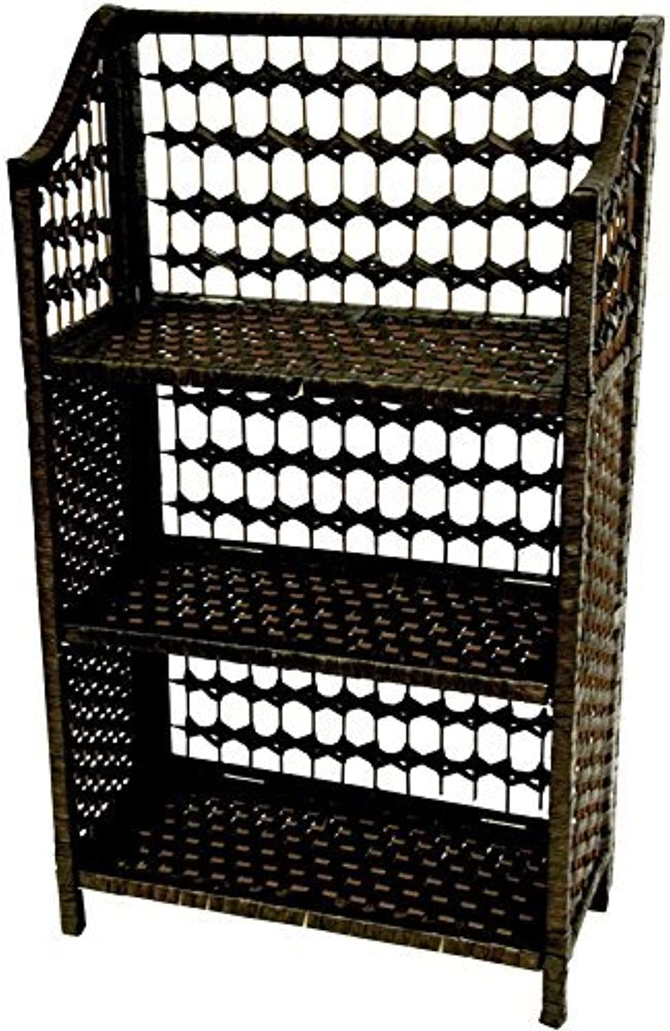 Oriental Furniture Simple Affordable Unique Small Size Book Case, 33-Inch Collapsible Natural Fiber Shelf Unit, Black