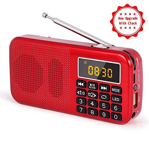 J-725C Radio FM portátil pequeña, Radio de batería Recargable Digital con Reloj Despertador, Linterna LED, Tiempo de reproducción ultralargo, Reproductor de MP3 AUX Micro-SD Pendrive, de PRUNUS(Rojo)