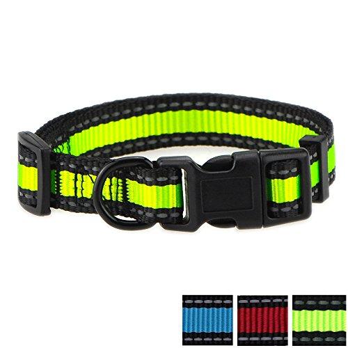 Mile High Life Hundehalsband, reflektierend, 3 m lang, mit Nylonband, Rot/Blau / Grün, Limittengrün/Schwarz, Mediun Neck 14