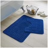 GC GAVENO CAVAILIA Ultra Plush - Juego de 2 Alfombrillas de baño griegas Antideslizantes, Extra absorbentes, 100% Polipropileno, tamaño Normal (50 x 80, 50 x 40 cm), Color Azul Real