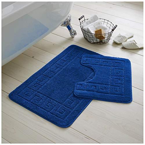 GC GAVENO CAVAILIA Juego de 2 Alfombrillas de baño griegas Antideslizantes de 2 Piezas, Extra absorbentes, 100% Polipropileno, Regular (50 x 80, 50 x 40 cm), Color Azul Real