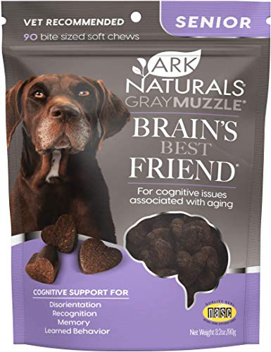 Ark Naturals Gray Muzzle Brain's Best Friend, Vet Recommended Soft Chews for Cognitive Issues Associated with Aging, 90 Count