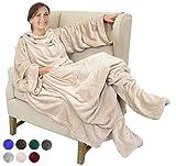 Catalonia TV-Decke Kuscheldecke mit Ärmel- und Fußtaschen Vlies-Decke große Wickeldecke zum Überwerfen, für Damen und Herren, 190x 135cm, Latté