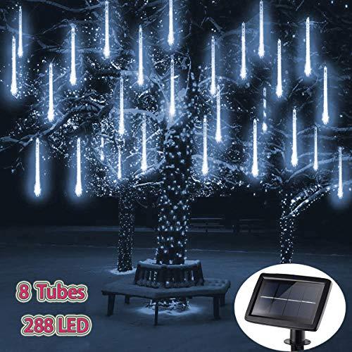 288LED Meteorschauer Regentropfe Lichter,KINGCOO Wasserdicht 30cm 8 Tubes Schneefall Eiszapfen Lichtschläuche Solar Lichterkette für Garten Hochzeit Neujahr Party Weihnachtsbaum (Weiß)