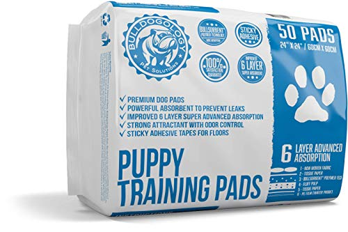Bulldogology Premium Puppy Pee Pads with Adhesive Sticky Tape