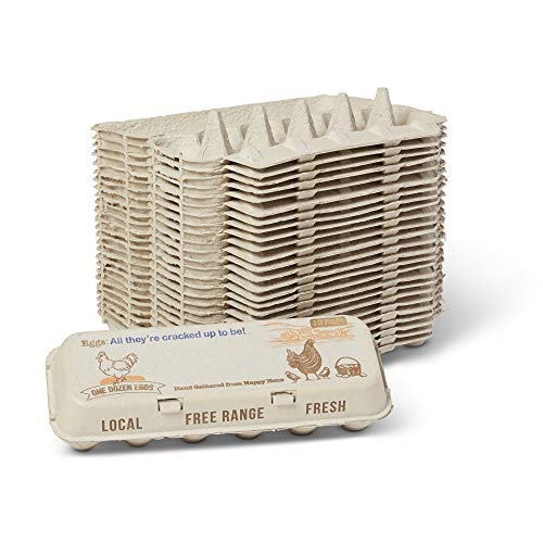 Eco-Friendly Paper Egg Carton - (25) One Dozen Cartons - Room for Personalization - Compostable - Healthy Living - Small-Jumbo Eggs - Reusable Crate - Adorable Vintage Design - For Fresh Local Eggs