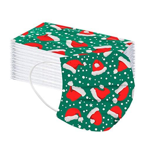 LUCKME 50 Stück Einmal-Mundschutz Weihnachts Druck, Staubschutz Atmungsaktive Mundbedeckung, Erwachsene, Bandana Face Cover Sommerschal