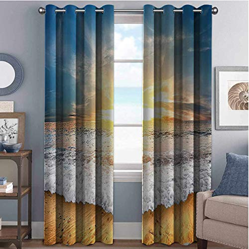 Annery Ocean Decor Collection Wear-Resistant Color Curtain Idyllic Scene of a Sunset with Zippy Waves Moving on to Sand at a Beach Picture Print 2 Panel Sets W52 x L95 Inch Blue Beige Yellow White