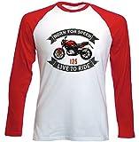 TEESANDENGINES Men's Cagiva 125 Raptor Camiseta DE Mangas ROJA LARGAS T-Shirt Size Medium