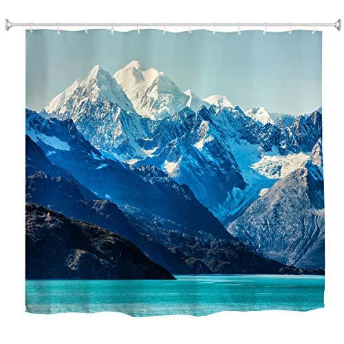 Duschvorhang, majestätisch, verschneite Berge, Gipfel, blauer Ozean, See, natürliche Landschaft, Badezimmer-Vorhang, wasserfester Stoff, Badezimmer-Dekor-Set mit Haken, 183 cm