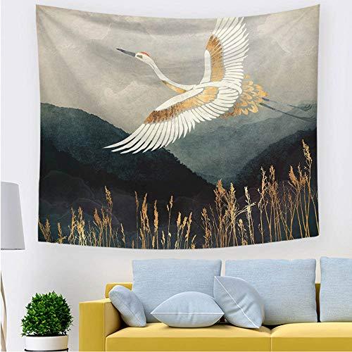 TJNMU Wandteppich für Schlafzimmer, Wohnheim, Badezimmer, Wanddekoration, Wohnzimmer, Kranich, fliegendes Paradies, 200 x 150 cm