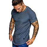 Hombres Verano Pliegues Camiseta Patrón Degradado Tops Moda Casual Solapa Manga Corta Camisa...