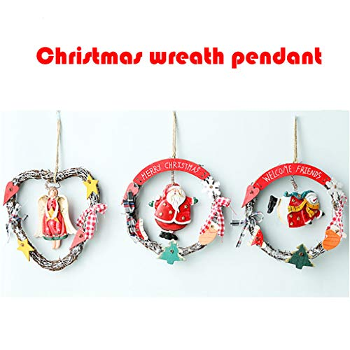 Fine Christmas Wreath for Front Door, Merry Christmas Wreath with Reindeer Snowman Santa Claus Wreaths for Home Kitchen Wall Window Hall Decor (C)