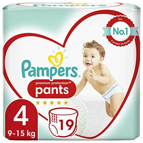 Pampers Baby Windeln Pants Größe 4 (9-15kg) Premium Protection, 19 Höschenwindeln, Tragepack, Weichster Komfort Und Einfaches Anziehen